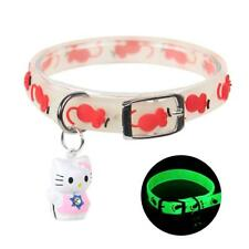 4Pcs Cat Collar Dell Charm Reflective Elastic Safety Adjustable Rubber Luminous