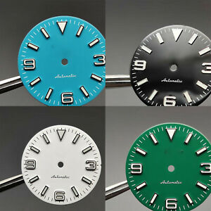 28.5mm Literal Plate Mechanical Watch Dial Luminous Dial For Nh35 Movement