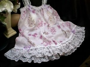 SISSY PINK FLORAL SHORTY BABY DOLL NIGHTY WHITE PLEATED LACE LILAC SATIN ROSES