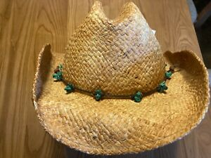 SCALA WOMEN'S WESTERN STYLE STRAW HAT  WITH RAWHIDE STRAP TURQUOISE BEADS