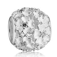 Art Design White 925 Silver European Flowers Beads Fit Sterling Charms Bracelet