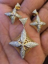 Classy 1.85 Cts Natural Diamonds Pendant Earrings Set In Solid Hallmark 14K Gold