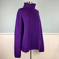 Size Large L Lands End Purple Cotton Chunky Rib Knit Turtleneck Sweater Women's