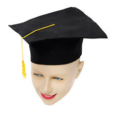 BLACK GRADUATION #MORTAR BOARD HAT SOFT FELT FANCY DRESS OUTFIT ACCESSORY