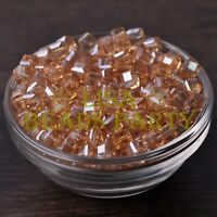 25pcs 6mm Cube Square Faceted Crystal Glass Loose Spacer Beads Amber Gold