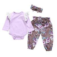 3PCS Newborn Baby Girls Bodysuit Romper Tops+Floral Pants+Headband Outfits Set