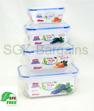 4PC BPA FREE Microwaveable Lock & Fresh Air Tight Food Storage Container Set R