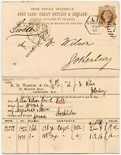 GB QV LATE FEE DUPLEX on UPU STATIONERY 1885
