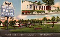 Linen Postcard Hitching Post Motel in Roanoke, Virginia~135988