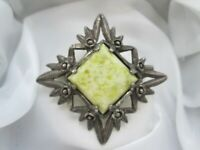 Vintage Signed  Miracle Scottish Celtic Silver Tone Green  Glass Brooch Kilt Pin