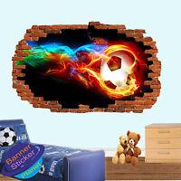 FOOTBALL FLAMES SHOOT 3D SMASHED WALL STICKER ART ROOM DECOR DECAL MURAL YN2