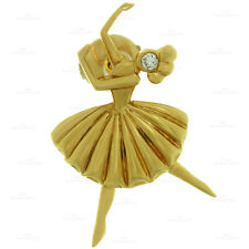 Rare & Collectibal ! VAN CLEEF & ARPELS Diamond 18k Yellow Gold Ballerina Brooch