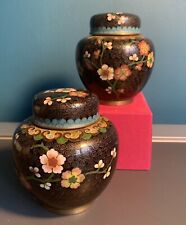 """#BAZDA50200 pair of  floral cherry blossom cloisonné ginger jars approx 4"""""""