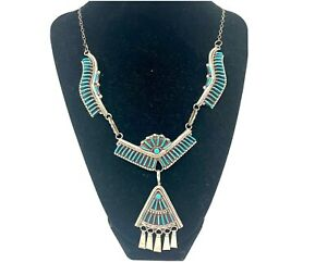 """VTG Zuni Sterling Silver Turquoise Petit Point Hook On Necklace 20"""" (40.1G)"""