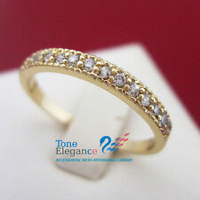 9k 9ct yellow gold GF solid engagement wedding ring made with swarovski