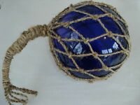"8"" Blue Glass Fishing Float ~ Fish Net Buoy ~ Nautical Decor Luau"