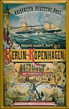 Imperial deutsche post escudo 20x30cm Berlin Copenhague barco de vapor
