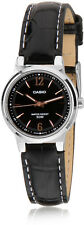 Casio Ladies Analog Black Fashion Watch Leather Band 50M WR LTP-1372L-1A New