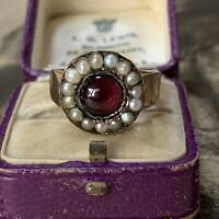 Victorian 15ct Pearl Ring with Tourmaline Cabochon, UK P 1/2