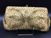 Vtg Gold/Yellow Walborg Belgium Hand Beaded Lotus Flower Satin Clutch Mint Cond.