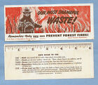 VINTAGE SMOKEY BEAR 1950 MAINE & US FORESTRY DEPARTMENT BOOK MARK NEW OLD STOCK
