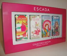 ESCADA 4x MINI PERFUME COLLECTORS ED TURQUOISE SUMMER TAJ SUNSET CHERRY PARADISE