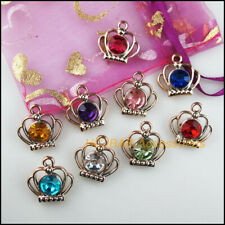 12Pcs KC Gold Plated Mixed Acrylic Crown Charms Pendants 19mm