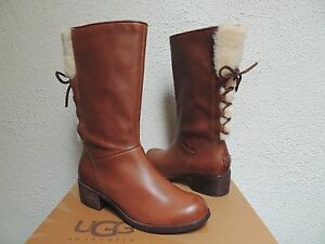 UGG CARY WOOL WHISKEY LEATHER/ SHEEPSKIN CORSET LACE BOOTS, US 7/ EUR 38 ~NEW