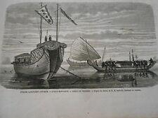 Gravure 1864 - Grande Canonnière Annamite Jonque Mandarine et Tongeois
