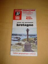 IGN France Carte Touristique N°105 Bretagne 1980