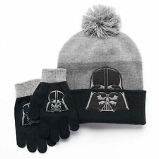 Star Wars OSFM Size 8 - 12 Boys Darth Vader Beanie Hat & Gloves Set NEW