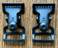 "Two WWII Belt Clips for 1"" Suspenders and Belts With WW2 Navy Anchor Symbol"
