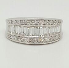 Diamond Wedding Ring 14k White Gold 2.10 TCW F,VS2 Emerald Cut & Round Shape