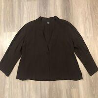 Eileen Fisher Womens 1X Silk Dark Brown One Button Blouse Top