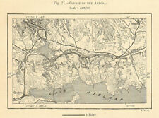 Course of the Arboga river. Sweden. Sketch map 1885 old antique plan chart