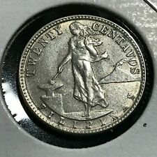 1945  PHILIPPINES SILVER 20 CENTAVOS NEAR UNCIRCULATED COIN
