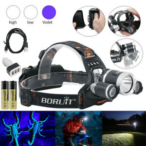 BORUiT UV 395nm USB Hunting Headlamp Head Torch Light 3x XM-L T6 LED Spotlight