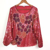 Vintage 100% Pure Silk Red Heavily Beaded Embellished Evening Top Chest 41""