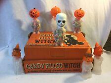 E Rosen Rosbro Box Candy Filled Witches + Vintage Halloween Jol Pre 1960 Skelton