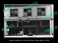 OLD 6 X 4 HISTORIC PHOTO OF STOCKTON CALIFORNIA, THE STEED MOTOR GARAGE c1920