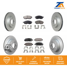 Front Rear Coated Disc Brake Rotors And Semi-Metallic Pads Kit For Nissan Sentra