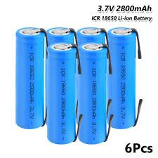 6x 2800mah Flat Top 18650 Batería 3.7v Recargable Li-Ion baterías con pestañas