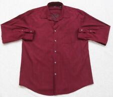 Alfani Dress Shirt Large Red Men's Polyester Solid Long Sleeve Button Front Top