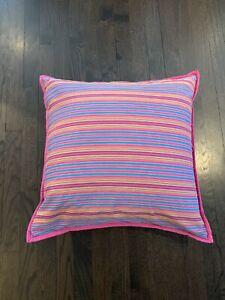 "Ralph Lauren 20"" Square Pink Blue Purple Stripe Throw Bed Pillow Down Fill"