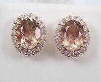 4Ct Oval Cut Morganite Diamond Push Back Halo Stud Earrings 14K Rose Gold Finish