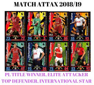 MATCH ATTAX 18/19 TITLE WINNERS ELITE ATTACKERS TOP DEFENDERS INTERNATIONAL STAR