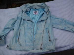 Leder Jacke Damen blau Größe 42