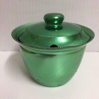 Duchess Brand Anodised Aluminium Green Sugar Bowl - crimped edge Circa 1950's