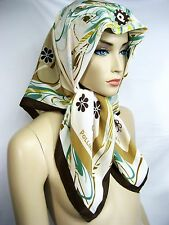 "ITALY POLLINI SETA Silk 34""x34"" Women Scarf Wrap Shawl Lady Floral Brown Gift"