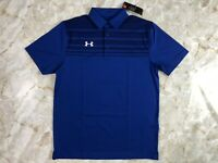 Men's Under Armour UA Victor Stripe Golf Tiger Blue Polo Size Medium